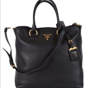 Prada Vitelli Phoenix shopping Tote black/gold NEW